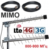 MIMO YAGI 3G / 4G LTE (800-900 МГц), 10 / 14 дБ